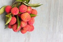 Fresco de la fruta del lichí Imagenes de archivo