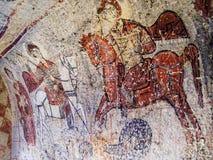 Fresco de San Jorge en iglesia en Goreme, Cappadocia Fotografía de archivo