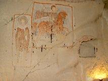 Fresco de San Jorge en iglesia en Goreme, Cappadocia Imagen de archivo libre de regalías