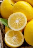 Fresco del árbol, limones de Meyer en una cesta fotos de archivo