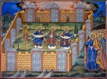 Fresco del monasterio de Rila en Bulgaria imagenes de archivo