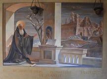 Fresco del santo Benedicto foto de archivo