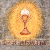First communion chalice symbol. Fresco depicting the sacred chalice of Jesus. `Eucaristia` in Italian means: Eucharist, Holy Communion, Communion royalty free stock image