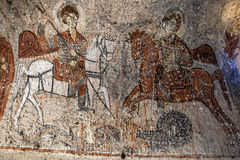 A fresco depicting St George and St Theodore in Yilanli Church at the Open Air Museum near Goreme in Turkey Stock Image