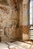 Fresco destruídos em Marianne Oranska Palace o 10 de setembro de 2016 em Kamieniec Zabkowicki, Polônia Fotografia de Stock