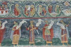 Fresco detail at Voronet Monastery Royalty Free Stock Photo