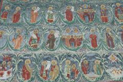 Fresco detail at Voronet Monastery Royalty Free Stock Image