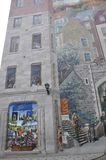 Fresco details from Parc Cetiere Old Quebec City in Canada Stock Photography