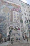 Fresco details from Parc de la Cetiere Old Quebec City in Canada Royalty Free Stock Photo