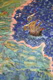 Fresco do mapa geográfico velho Imagens de Stock Royalty Free