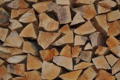 Fresco dobrado no woodpile aparou logs da árvore de Cau Foto de Stock Royalty Free