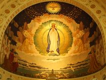 A fresco in the dome of a large church. In St. Gallen stock image