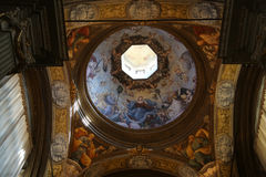 Fresco in the dome of the Saint Lucia church, Parma stock images