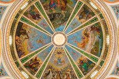 Dome of Stella Maris. Fresco of dome of Stella Maris stock photos
