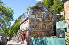 魁北克市壁画 免版税库存图片