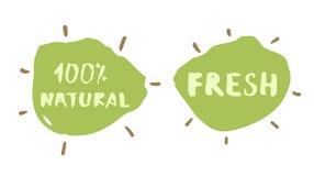 Fresco e crachás tirados de 100% mão natural Ilustração do vetor Fotografia de Stock Royalty Free
