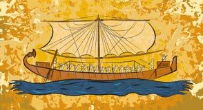 Fresco egipcio del barco del papiro ilustración del vector