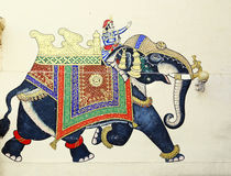 Fresco of elephant & rider in Udaipur, India Royalty Free Stock Image
