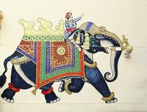 Fresco of elephant & rider in Udaipur, India royalty free stock image