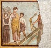 Fresco em Pompeii perto de Nápoles, Itália imagem de stock royalty free