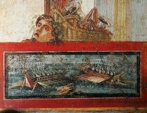 Fresco em ruines de Pompeii, Nápoles, Itália Imagem de Stock