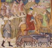 Fresco em San Gimignano - em Abraham e em lote foto de stock royalty free