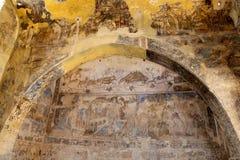 Fresco en el castillo del desierto de Quseir (Qasr) Amra cerca de Amman, Jordania Fotos de archivo