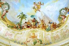 Fresco en el pabellón del jardín del parque de la abadía de Melk. Imagen de archivo libre de regalías