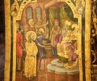 Fresco en la iglesia de Santo Sepulcro, ensayo de Jerusal?n - de Sanhedrin de Jes?s fotografía de archivo
