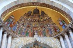 Fresco on the exterior main entrance to the Basilica de San Marc. O in Venice Italy royalty free stock photo