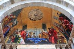 Fresco on the exterior main entrance to the Basilica de San Marc. O in Venice Italy royalty free stock images