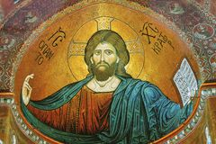 Fresco in the famous cathedral Monreale in Sicily royalty free stock image