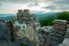 The fresco.A fortress on a background of mountains, where he download the film Storm Gates. Gelendzhik district.Russia. Royalty Free Stock Photography