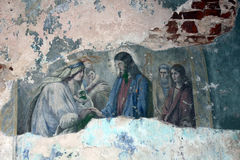 Fresco fragment in old orthodox church Royalty Free Stock Photos
