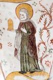 Fresco gótico de Mary Magdalene com um frasco da pomada Foto de Stock Royalty Free