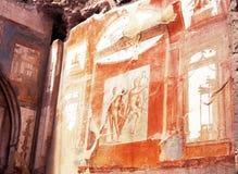 Fresco, Herculaneum, Italy. Stock Image