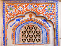 Fresco of historical mansion wall in India Stock Photos