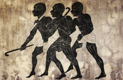 Fresco - hunters. Ancient art - image of the three hunters in primitive style like mural painting Stock Images