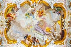 Fresco i kyrkliga Wieskirche. Wies royaltyfri bild