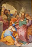 Saint Paul is Warned about the Jerusalem Mob. The fresco with the image of the life of St. Paul: Paul is Warned about the Jerusalem Mob, basilica of Saint Paul stock image