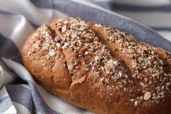 Fresco inteiro da grão do pão escuro do multigrain cozido em rústico Fotos de Stock Royalty Free