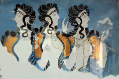 Fresco Ladies in Blue Stock Photos