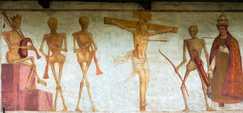 Fresco Macabre Dance - Pinzolo Trento Italy. Detail of fresco La danza macabra (Macabre dance), Simone Baschenis 1539. Ancient church of San Vigilio (1515) in stock images