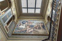 Fresco in the main staircase Osborne House Isle of Wight. Osborne House is a former royal residence in East Cowes, Isle of Wight, United Kingdom. The house was royalty free stock images