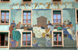 Fresco on medieval building in Lucern, Switzerland Stock Photos