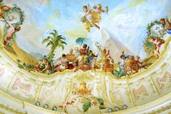Fresco in Melk Abbey park garden pavilion. Royalty Free Stock Image