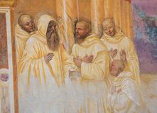 Fresco in Monte Oliveto Maggiore - Scene in the Life of St Benedict stock photos