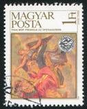 Fresco by Mor Than. HUNGARY - CIRCA 1984: stamp printed by Hungary, shows fresco by Mor Than, circa 1984 Stock Images