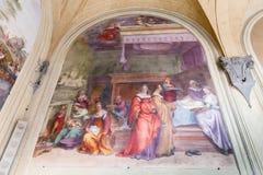 Fresco no pátio interno do della Santissima Annun da basílica fotografia de stock