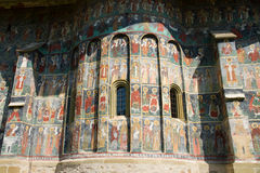 Fresco old monastery painted wall Sucevita Stock Photos